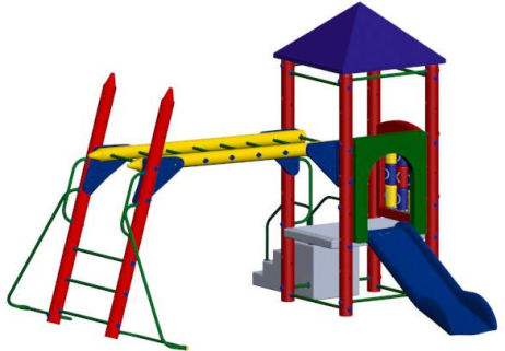 Fort Columbus 3ft deck height, Hand over hand bars, tic tac toe panel slide entrance panel, 6ft slide, roof, molded stairs