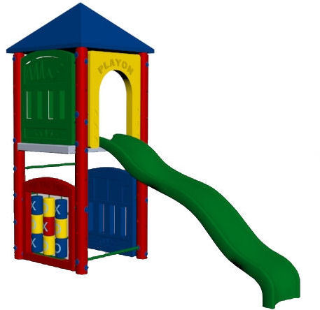 Fort Adams 5ft deck height, tic tact toe, activity, slotted and slide entrance panel, fireman's pole, wave slide, roof