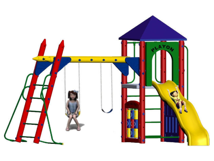 Fort Columbus 5ft deck height, tic tac toe, activity, and slide entrance panels, fireman's pole, wave slide, hand over hand bars, roof
