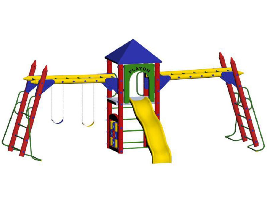 Fort Nelson 5ft deck height, tic tac toe, activity, and slide entrance panels, wave slide, (2) hand over hand bars, roof