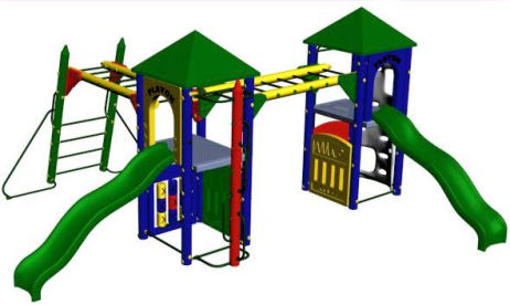 Fort Chambley 5ft deck height, tic tac toe, activity, (2) slotted and (2)slide entrance panels, fireman's pole, climbing wall, crayon loop climber, (2) wave slide,(2) hand over hand bars,(2) roof